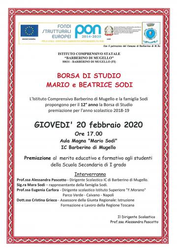 Borsa di studio Mario e Beatrice Sodi